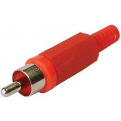 Plug RCA plástico rojo